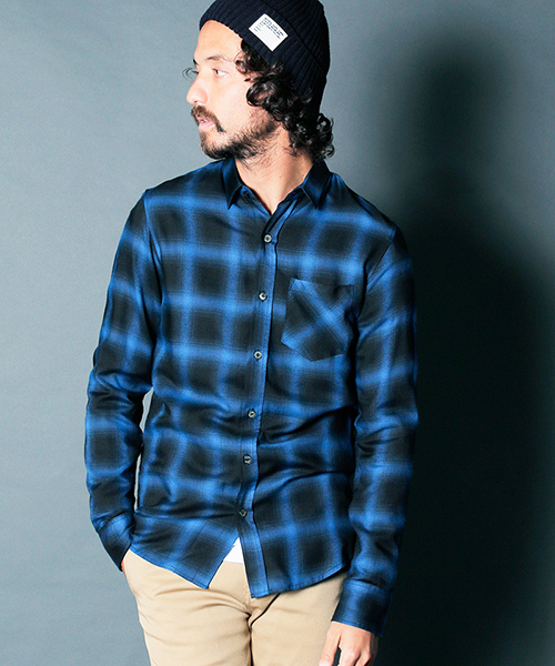 【Magine(マージン)】RAYON OMBRE CHK STANDARD SHIRTS L-S シャツ(1911-17)